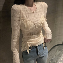 Girls Lace Blouses Shirts Tees Female Laced Mesh Full Sleeve