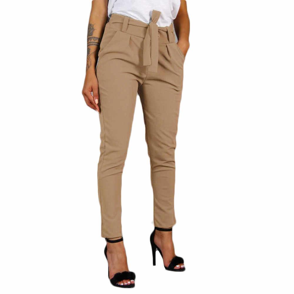 Wanita Tinggi Pinggang Celana Harem Wanita Perban Elastis Pinggang Garis Santai Celana Perapi Celana Saku Celana Kantor Wanita Celana