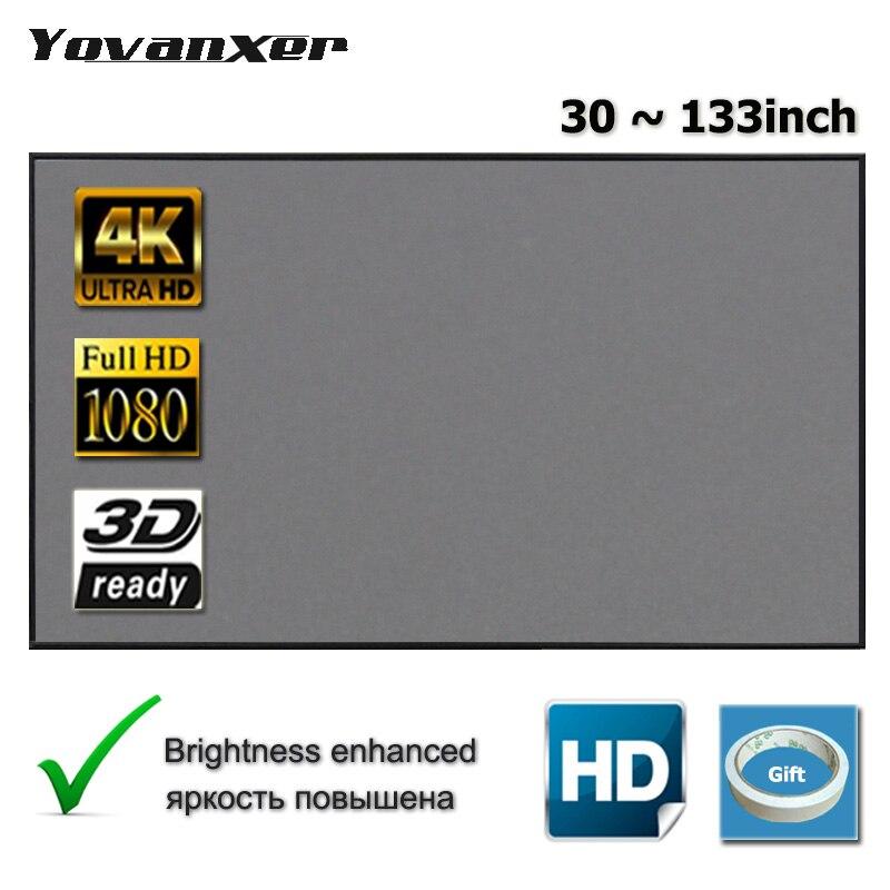 Tela de projeção yovanxer 72 84 100 120 130 133 polegada tela reflexiva para xgimi xiaomi jmgo aun projetor aumentar o brilho