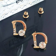 E270 Earrings Fashion Temperament Small Letter D Word Zircon Wholesale Earings Jewelry