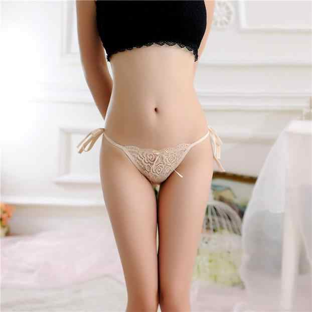 Women Lace Briefs Ladies Low Waist Buttocks Bandage Panties Simple Solid color Thongs Sexy Female G-string Lingerie Underwear