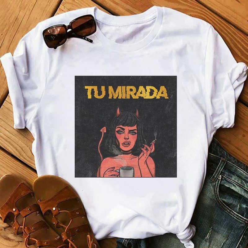 Tu Mirada Demon Woman Smoking Print T-shirt Women Harajuku Gothic Aesthetic Retro Tshirt Streetwear Korean Style Female T Shirt