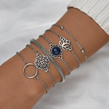 6 Pcs/Set European and American Style Chain Bracelet for Women Simple Fashion Different Hollow Patterns Bracelet Bangles Jewelry