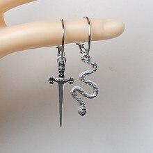 Punhal e cobra cristal balançar brincos, espada, vampiro gótico punhal alternativo gótico bruxa espada jóias