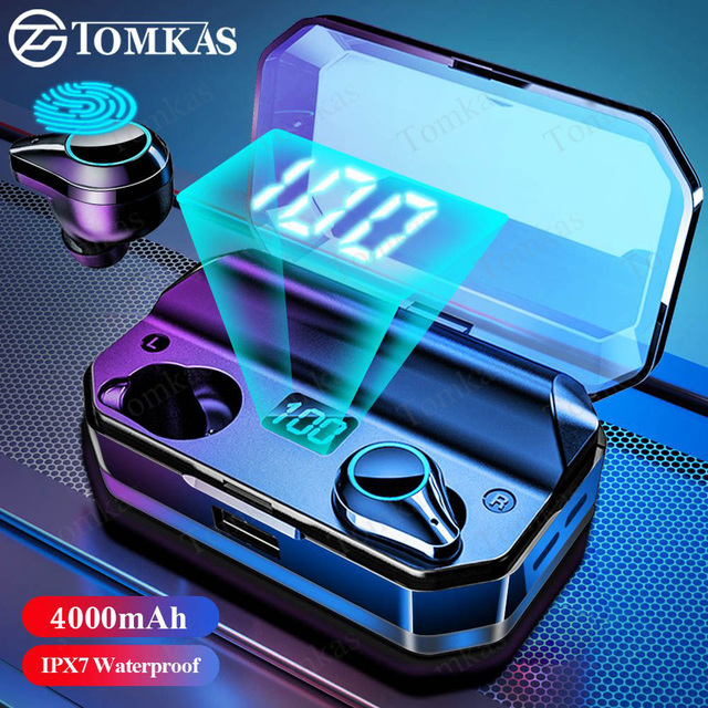 TOMKAS TWS Earphones 9D Stereo Bluetooth 5.0 Wireless Earphones IPX7 Waterproof Headphone LED Display with Mic Touch Key 1