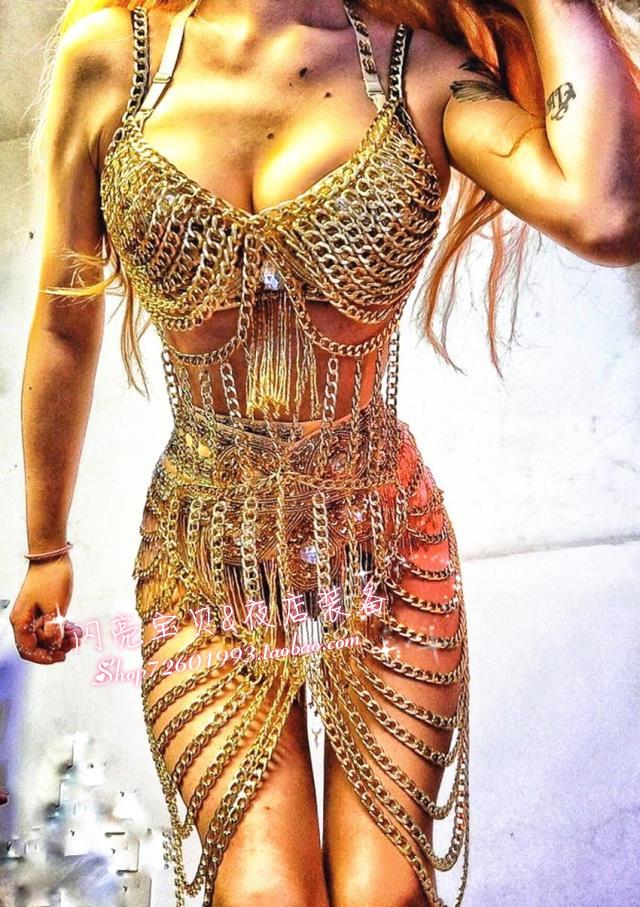 Female Singer Ds Heavy Metal Diy Staphyloccus Iron Chain Dress Costume Traditional Chinese Dance Costume DJ Rave Outfit 2020