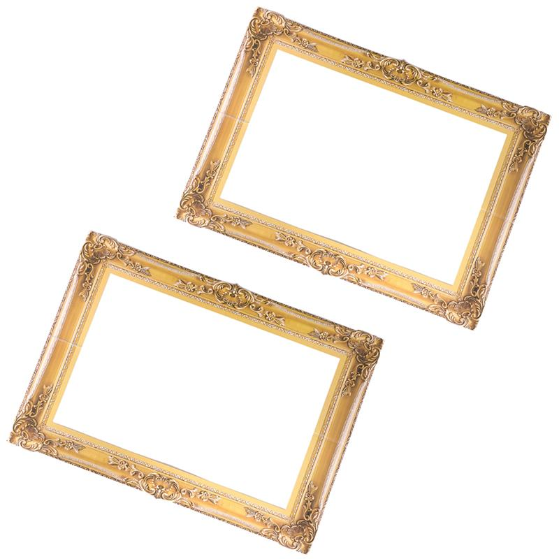 2pcs Paper Photo Frame Handheld Photo Props Wedding Christmas Party Photography Frame Rectangle Selfie Picture Frame (Golden)