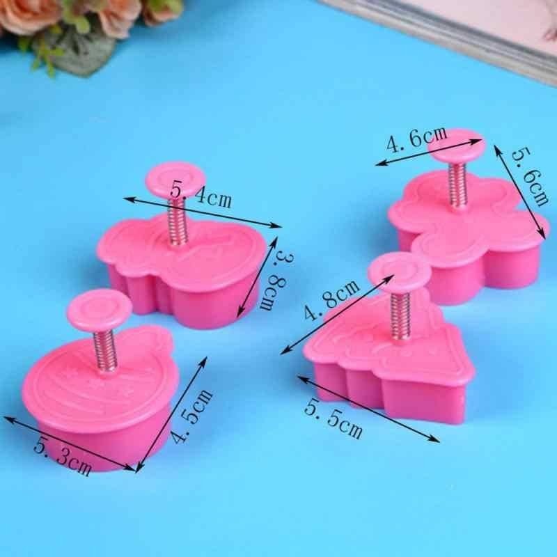 4 unids/set de plástico de grado alimenticio cortador de galletas utensilios de cocina para hornear émbolo sello troquelado utensilios para decoración de tortas con fondant