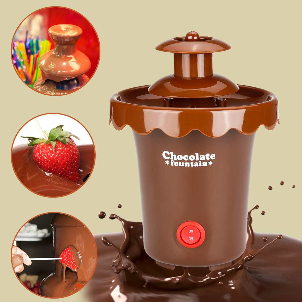 2 Tiers Mini Chocolate Fondue Fountain Party Waterfall Melting Machine For Fruits Marshmallows Cookies Cake Wedding Party