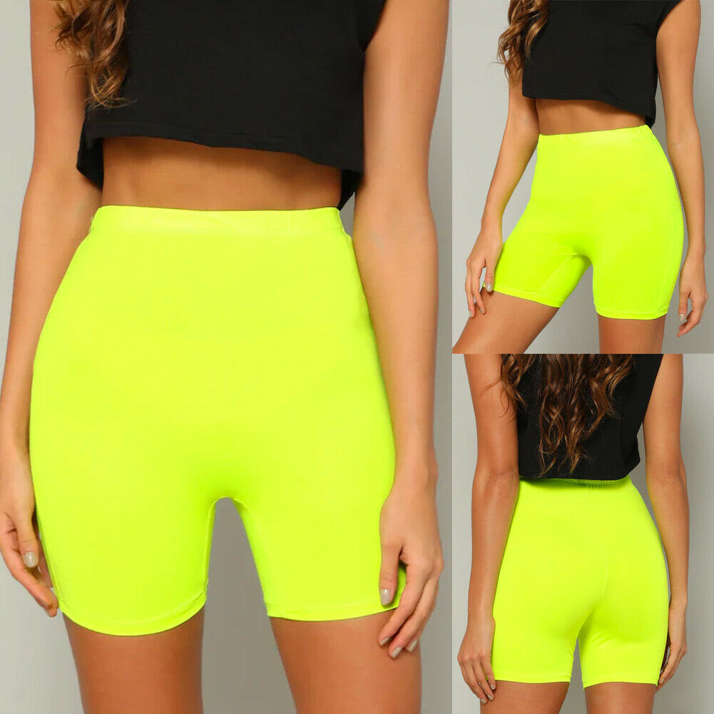 Biker Shorts Women High Waist Compression Sports Fitness Running Exercise Workout Skinny Shorts