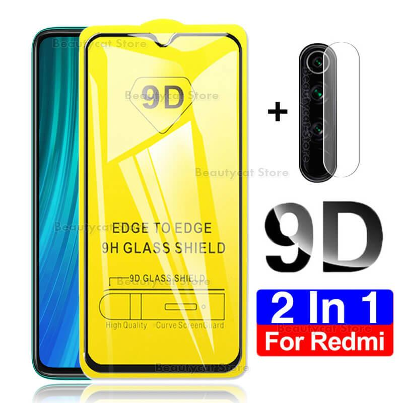 2-In-1 9D Camera Glass For Xiaomi Redmi Note9 Glass On Xiomi Redmi 9 Note 9S 8T 8 T Note8t Note8 9Pro Max 8A 9 Protective Glass