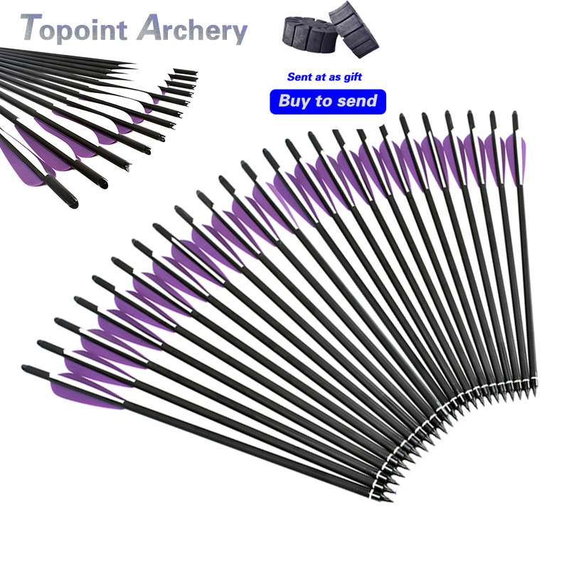 12PCS 16/ 17/ 18/ 20/ 22Inch Crossbow Bolt Carbon Arrow Purple White Feather For Recurve/Composite Bow Target Hunting Archery