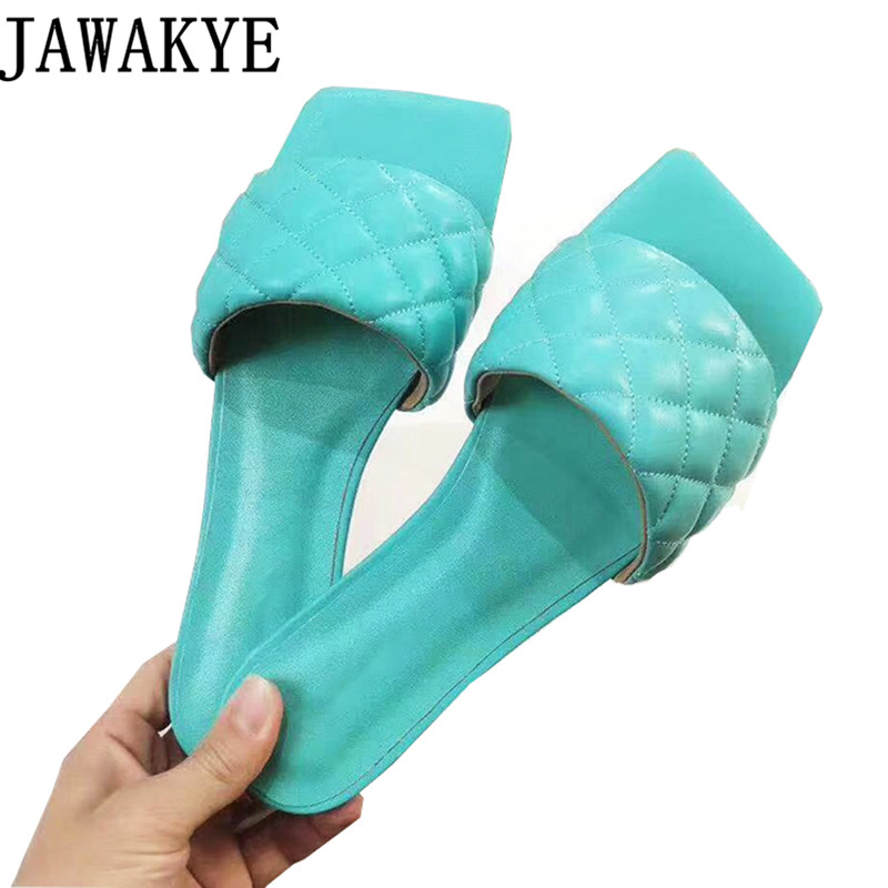 Summer Shoes Women Flat Heel Leather Flipflops Beach Shoes Candy Color Square Open Toe Mules Shoes Women's Outdoor Slippers