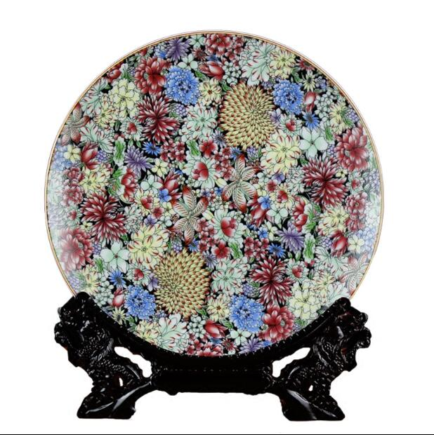 Jingdezhen Ceramics High-grade Porcelain Hanging Plate And Ten Thousand Flowers Pollen Decoration Setting Plate Home Decoration