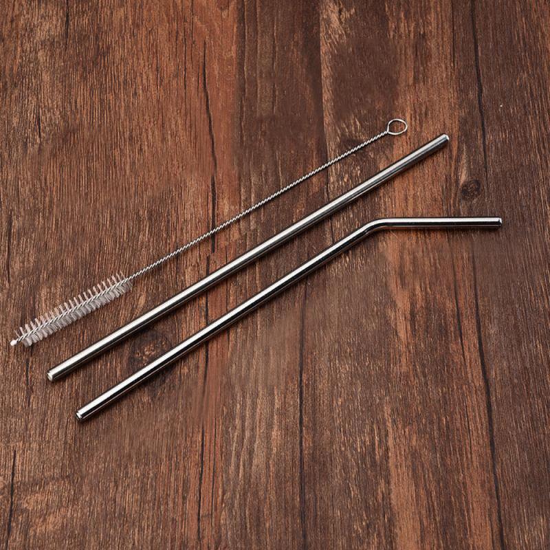 Многоразовая Питьевая соломенная прямолинейная изогнутая 304 нержавеющая сталь высококачественная металлическая соломинка с чистящей щет...