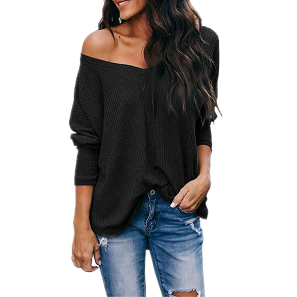 2020 Spring Womens Sexy V Neck Tunic Blouse Casual Loose Solid Knit Shirts Off Shoulder Plain Pullover Long Sleeve Tops