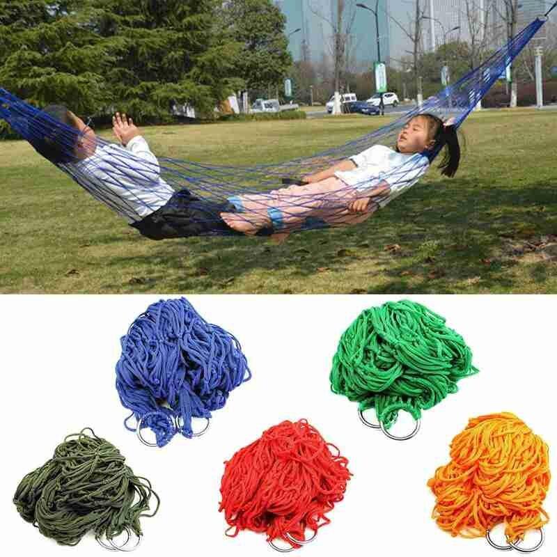 Nylon Portable Hammock Hanging Mesh Sleeping Bed Swing Outdoor Travel Camping
