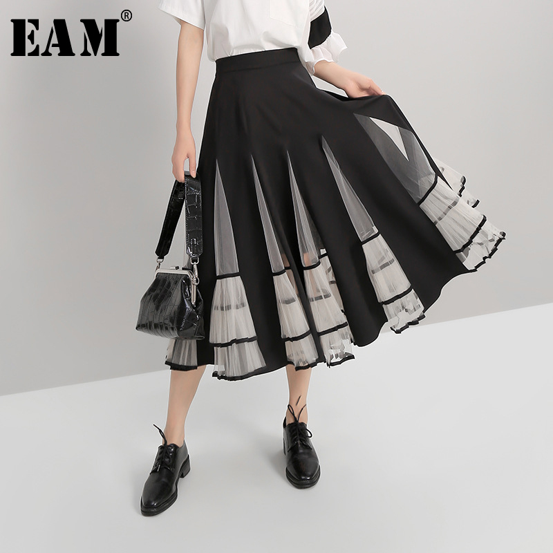 [EAM] Mesh Spliced Pleated Perspective Loose High Waist Half-body Skirt Black Women Fashion Tide New Spring Autumn 2020 1A184