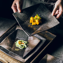 Japanese Square Plate Steak Western Food Plate Ceramic Plate Household Porcelain Plate Tableware Bowls and Plates Various Sizes