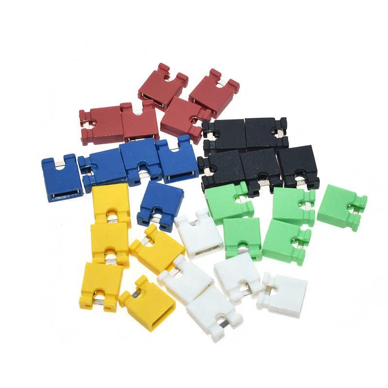 100 pièces Pitch jumper capuchon court & en-têtes & boîtiers de fil 2.54MM SHUNT noir jaune blanc vert rouge bleu