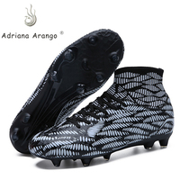 Adriana Turf High Ankle Soccer Shoes for Men Women Kid Long Spikes Outdoor Soccer Traing Boots Sneakers EU Size 36~45
