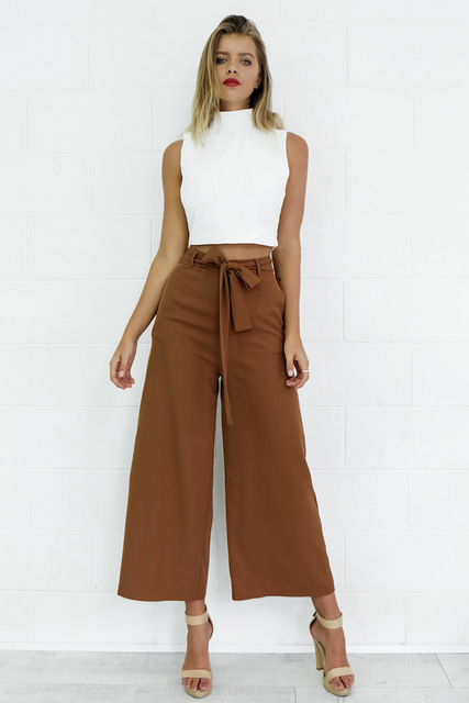Women Loose mid-rise waist trousers/ half-length sexy cropped