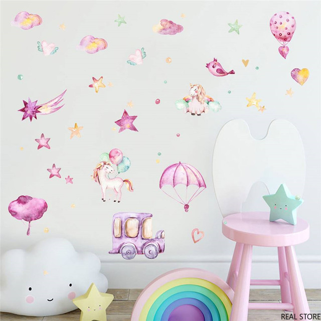 Encre aquarelle rose licorne voiture créative autocollant mural pour enfants chambre décor à la maison pépinière mur décalcomanie enfants affiche bricolage fille cadeau