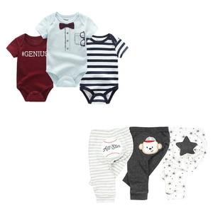 Image 3 - cute Bodysuits+Pants Baby Boy Girl Clothing Sets 0 12M Baby Boy Girl Clothes Unisex Newborn Baby Cotton Roupa de bebe