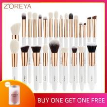 Zoreya 10-25pcs Set di pennelli per trucco nero Set di ombretti fondotinta professionale correttore in polvere pennello per sfumare il contorno classico