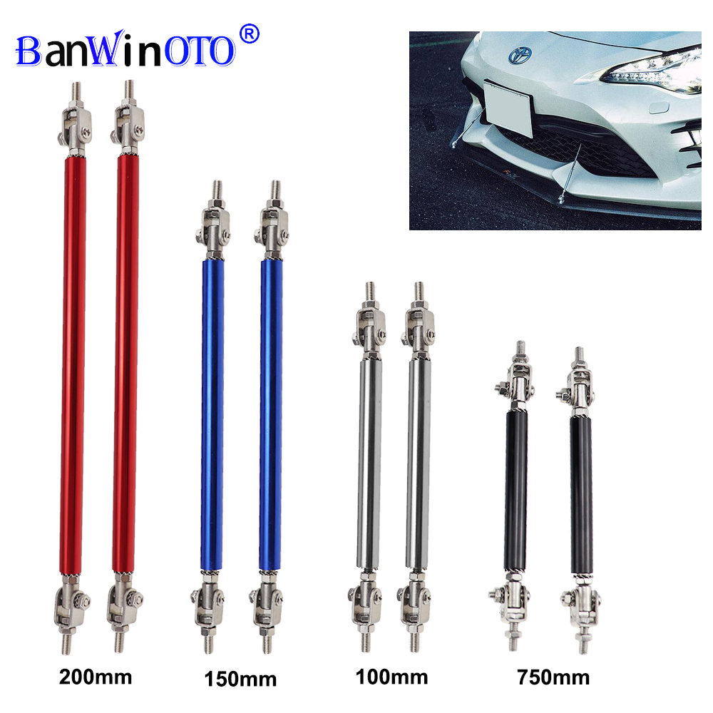 2x Universal Racing Verstelbare Voor Achter Bumper Lip Splitter Ondersteuning Bar Kit Racing 75 Mm/100 Mm/150 mm/200 Mm Auto Styling Tunning