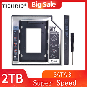 TISHRIC Optibay 12.7mm/9.5mm 2nd HDD Caddy SATA 3.0 HDD Case/Enclosure For 2.5'' SSD 2TB for Laptop CD-ROM Adapter DVD HDD