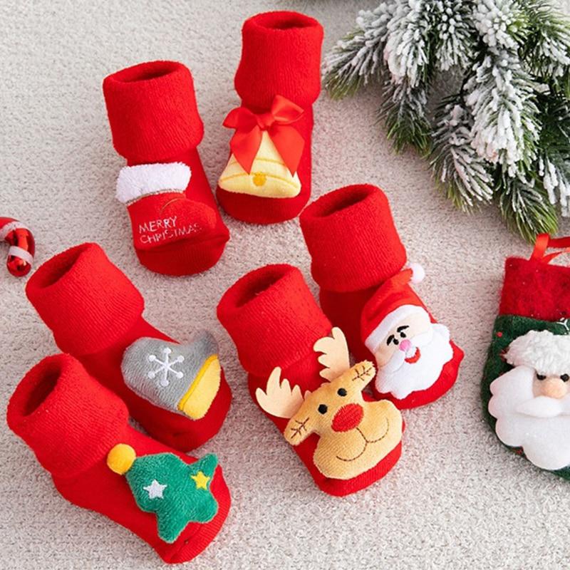 Kids Children's Socks for Girls Boys Thicken Print Cotton Toddlers Baby Christmas Socks for Newborns Infant Short Socks Clothing