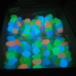 Image 4 - 50/100/300 sztuk świecące w ciemności kamienie świecące kamienie fluorescencyjne jasne kamyki świecące kamienie do akwarium ogród dekoracji