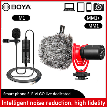 BOYA BY-M1MM1MM1+ Video Record Microphone Lavalier Audio Collar Condenser Lapel Mic for Camera Youtube iPhone Android Smartphone boya by m1 m1dm by mm1 dual omni directional lavalier microphone short gun video mic for canon nikon iphone smartphones camera