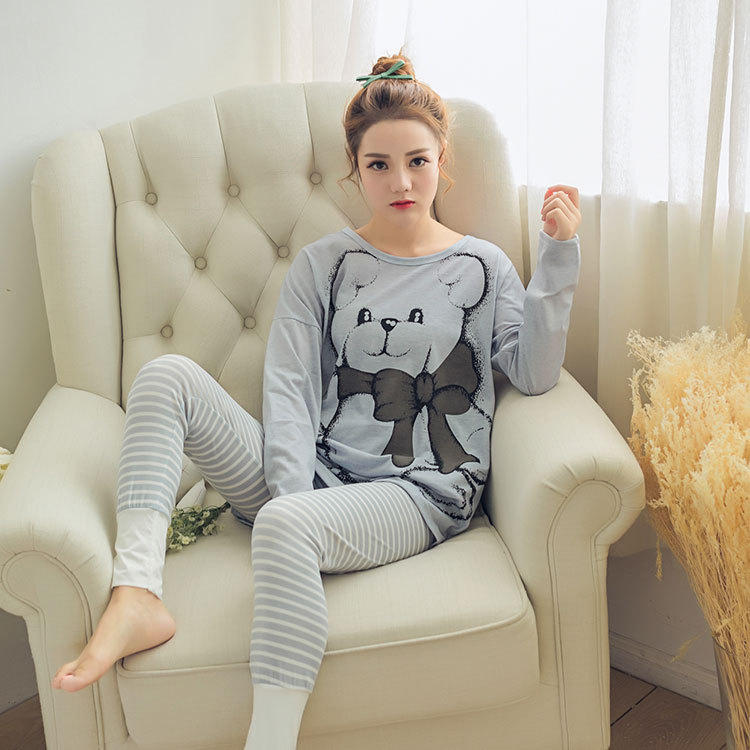 Cartoon Cute Bow Bear Pajamas Women's Spring And Autumn New Products Knitted Cotton Women's Home Wear Pink Case