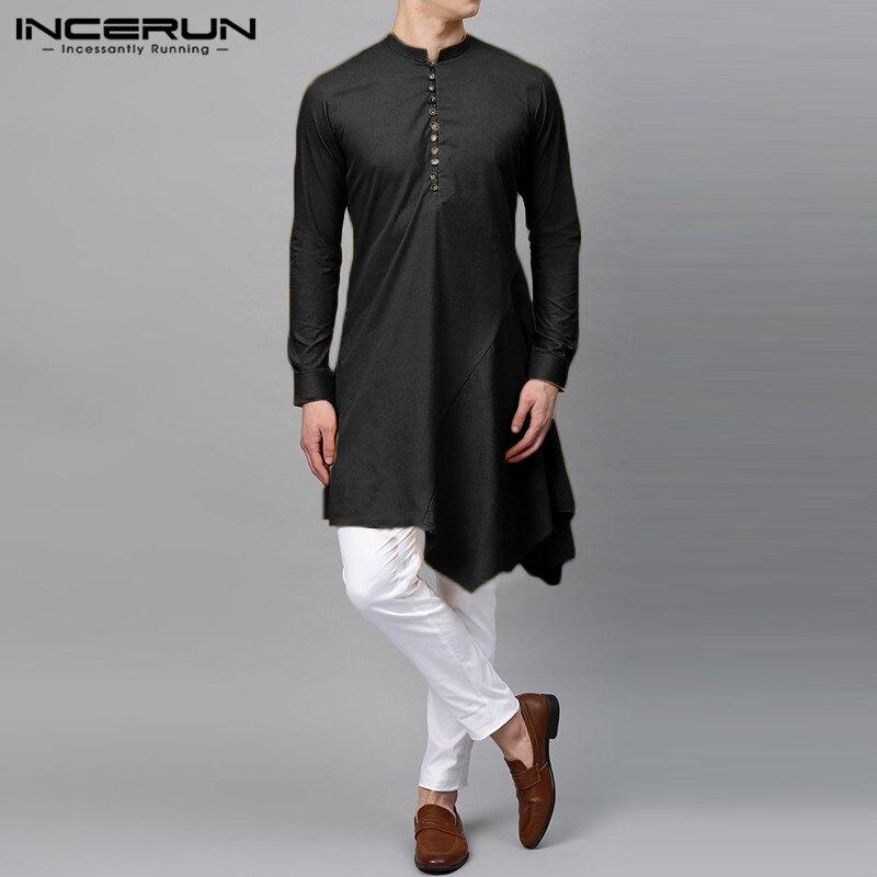 INCERUN Men Long Shirt Indian Clothes 2020 Vintage Solid Color Long Sleeve Kurtas Mens Asymmetric Shirts Elegant Muslim Robes