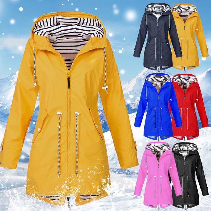 Heflashor Frauen Regenmantel Übergang Jacke Sunset Lange Herbst Winter Regenmantel Wandern Jacke Outdoor-Camping Wind Jacke