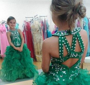 Cute Emerald Green Flower Girl Dresses Girls Pageant Dress Princess Puffy Skirt Party Prom Ball Gown Short Pretty For Little Kid emerald green girl s pageant dresses for teens princess flower girl dresses birthday party dress ball gown