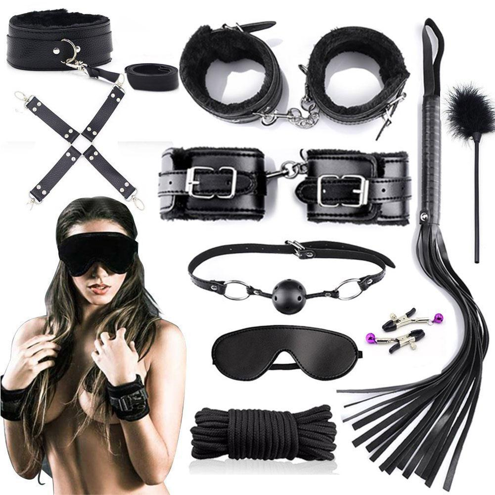 10Pcs Faux Leather Blinder Hand Foot Cuff Whip Rope Collar Sex BDSM Bondage Set Special Faux Leather Sex Toys For Woman