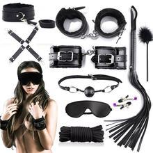 10Pcs Faux Leather Blinder Hand Foot Cuff Whip Rope Collar Sex BDSM Bondage Set
