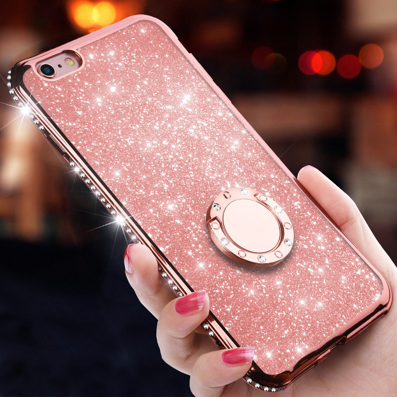 360 oft Silicone TPU Diamond Sexy Girl Protector Back Cover For iPhone 8 7 6 6S Plus Ring for X XS Max XR