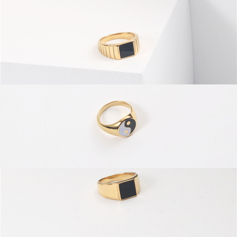 Peri'sBox Textured Circle Square Black Enamel Rings Yin and Yang Geometric Rings for Women Vintage Stainless Steel Jewelry 2020