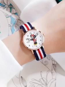 Disney Strap Wrist-Watches Girls Japan Minnie Mouse Waterproof Cute Lady Luxury Nylon