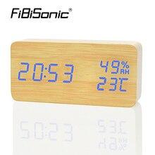 Fibisonic モダンシンプル led アラーム時計温度湿度表示時計デスクトップ電子音制御デジタル時計テーブルデ