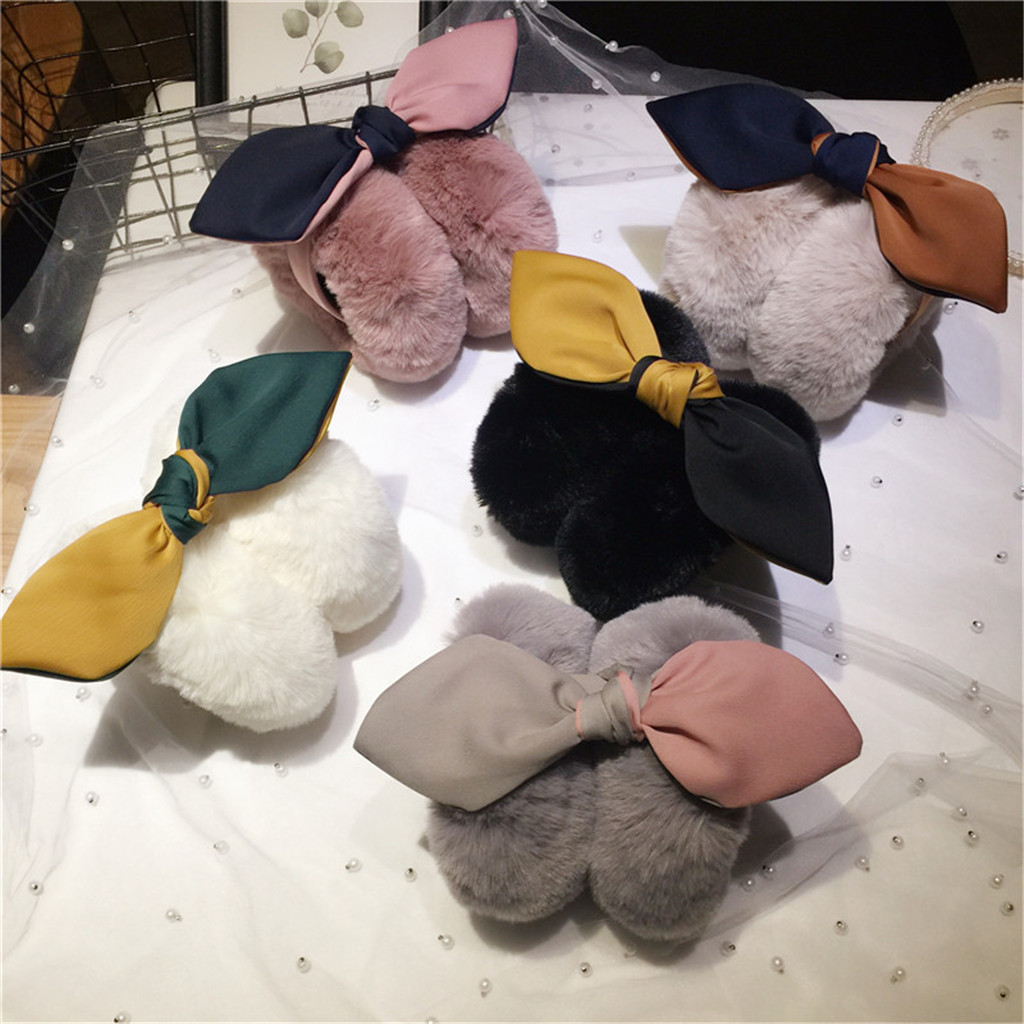 Winter 2020 Women Funny Winter Earmuffs Faux Fur Headband Knot Warmer Plush Party Dropshipping China USA Ins Wind Fashion Se