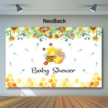 NeoBack Sweet Bee Baby Shower Photography Backdrops Honey Sunflower Floral Photo Background Dandelion Decor Backdrop