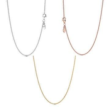 Женская классическая цепочка из серебра 925 пробы, ожерелье цвета розового золота, цепочка из стерлингового серебра, ювелирные изделия, изготовление подарков|Ожерелья|   | АлиЭкспресс