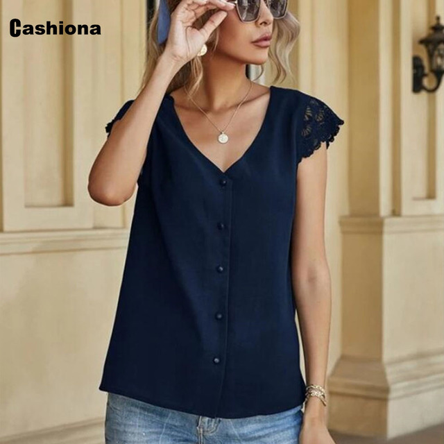 Women Elegant Leisure Chiffon Blouse 2021 Summer New Patchwork Lace Tops Backless V-neck Shirt Feminina Blusas Shirt Ropa Mujer 5
