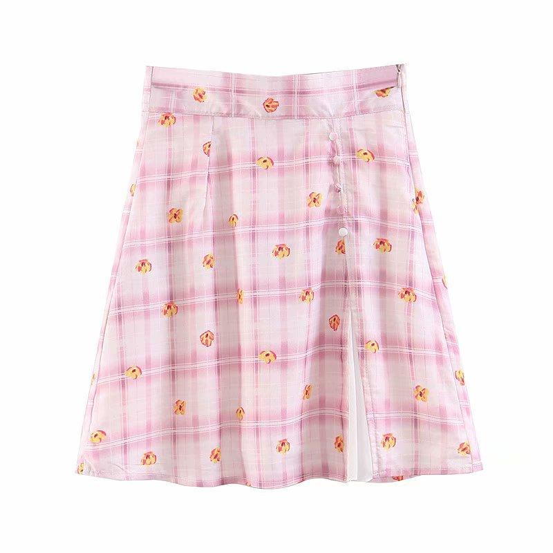 Vacation Style WOMEN'S Dress High-waisted Casual Broken Pollen Lattice Small Flower Skirt-Style Button A- Line Skirt Bai Da Qun
