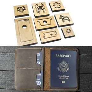 Image 2 - Japão lâmina de aço morrer cortador modelo de couro passaporte carteira presente para o homem passaporte titular punch ferramenta mão corte faca molde